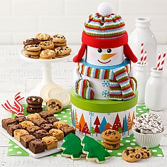 holiday snowman cookie tower - Christmas Cookie Baskets
