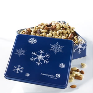 Mrs Fields Ameriprise Financial Snowflake Tin with Mixed Nuts