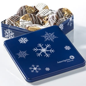 Mrs Fields Ameriprise Financial Snowflake Dipped Cookie Tin