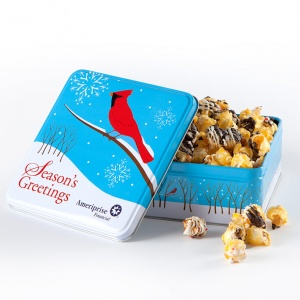 Mrs Fields Ameriprise Financial Cardinal Popcorn Tin