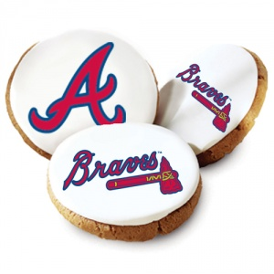 One Dozen Atlanta Braves White Logo Cookies
