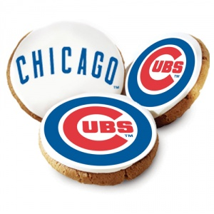One Dozen Chicago Cubs White Logo Cookies