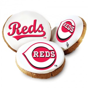 One Dozen Cincinnati Reds White Logo Cookies
