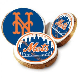 One Dozen New York Mets White Logo Cookies