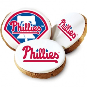 One Dozen Philadelphia Phillies White Logo Cookies
