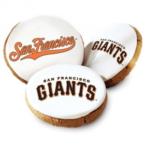 One Dozen San Francisco Giants White Logo Cookies