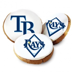 One Dozen Tampa Bay Rays White Logo Cookies