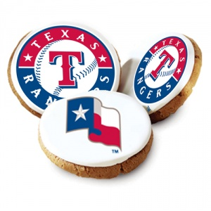 One Dozen Texas Rangers White Logo Cookies
