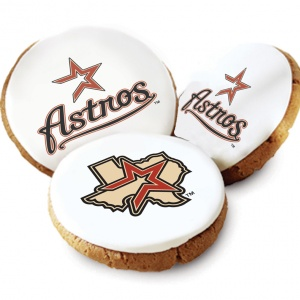 One Dozen Houston Astros White Logo Cookies