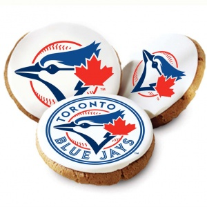 One Dozen Toronto Blue Jays White Logo Cookies