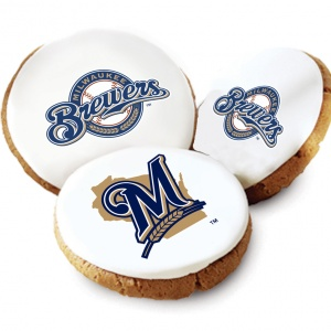 One Dozen Milwaukee Brewers White Logo Cookies