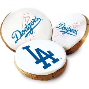 One Dozen Los Angeles Dodgers White Logo Cookies