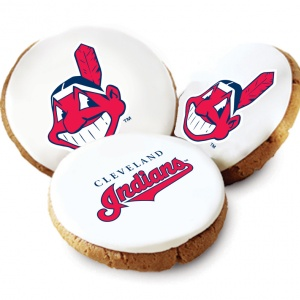 One Dozen Cleveland Indians White Logo Cookies