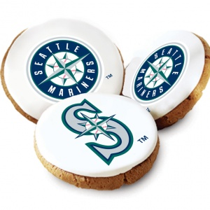One Dozen Seattle Mariners White Logo Cookies