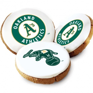 One Dozen Oakland Athletics White Logo Cookies