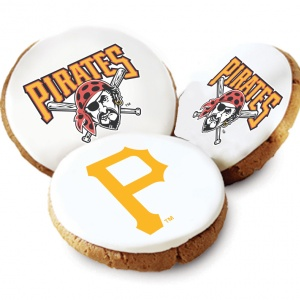 One Dozen Pittsburgh Pirates White Logo Cookies