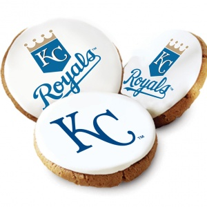 One Dozen Kansas City Royals White Logo Cookies