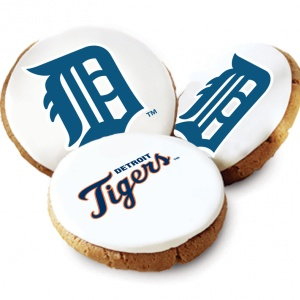 One Dozen Detroit Tigers White Logo Cookies