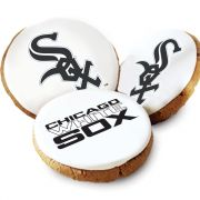 One Dozen Chicago White Sox White Logo Cookies