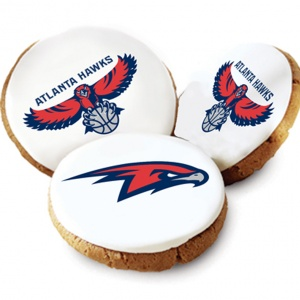 One Dozen Atlanta Hawks White Logo Cookies