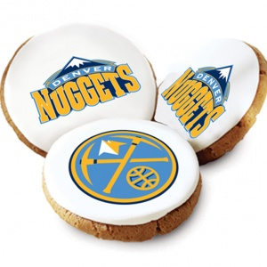One Dozen Denver Nuggets White Logo Cookies