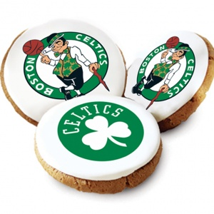One Dozen Boston Celtics White Logo Cookies