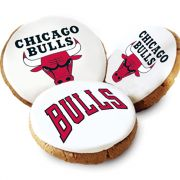 One Dozen Chicago Bulls White Logo Cookies