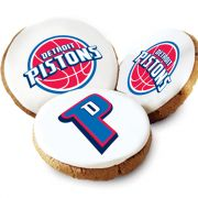 One Dozen Detroit Pistons White Logo Cookies