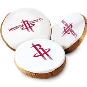 One Dozen Houston Rockets White Logo Cookies