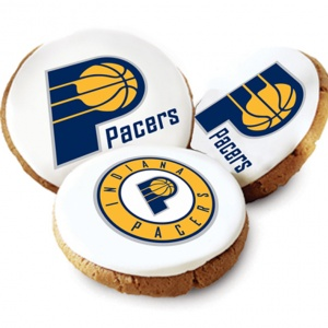 One Dozen Indiana Pacers White Logo Cookies
