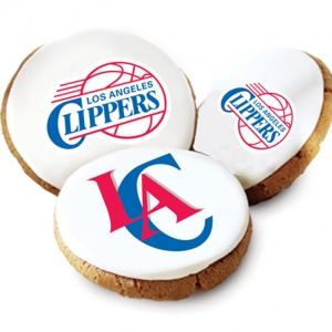 One Dozen Los Angeles Clippers White Logo Cookies