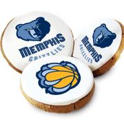 One Dozen Memphis Grizzlies White Logo Cookies