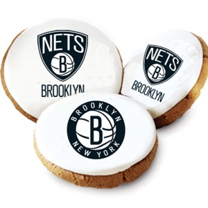One Dozen Brooklyn Nets White Logo Cookies