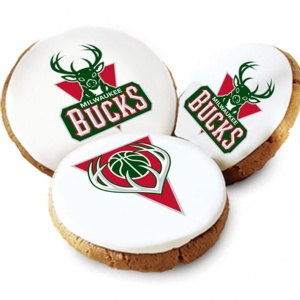 One Dozen Milwaukee Bucks White Logo Cookies