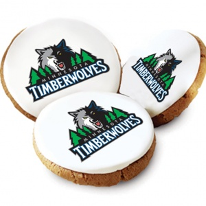 One Dozen Minnesota Timberwolves White Logo Cookies