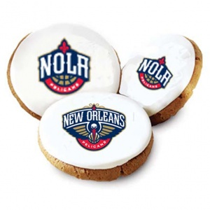 One Dozen New Orleans Pelicans White Logo Cookies
