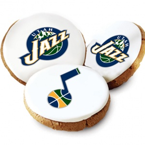 One Dozen Utah Jazz White Logo Cookies
