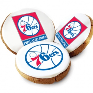 One Dozen Philadelphia 76ers White Logo Cookies