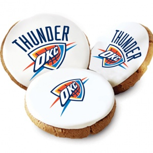 One Dozen Oklahoma Thunder White Logo Cookies