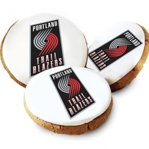 One Dozen Portland Trailblazers White Logo Cookies