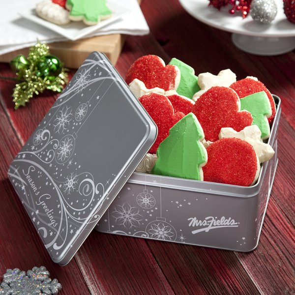 Frosted Cookies Seasons Greetings Tin