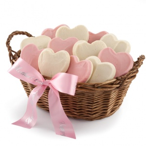 We love you mom basket with 12 hand-frosted heart shaped cookies