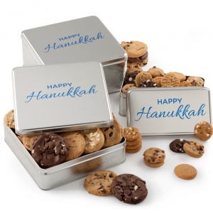 Happy Hanukkah Silver Tins
