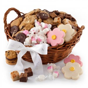 Mothers Day Sampler basket with Nibblers cookies Brownie Bites hand-frosted cookies and candy