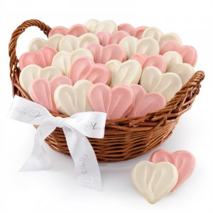 Love you times two Mom basket with 24 hand-frosted heart shaped cookies