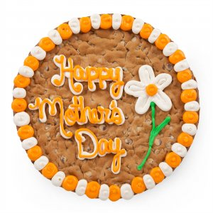 A great Mothers Day gift idea a giant cookie cake with a personalized message made of icing