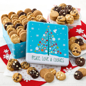 Peace Love  Cookies 102 Nibblers Tin Nut-Free