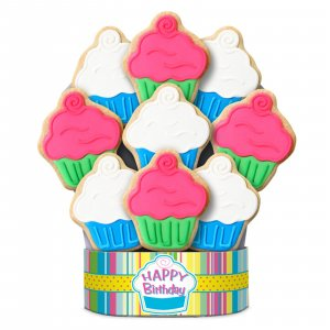 Cupcake Happy Birthday Bouquet 6 Cookies