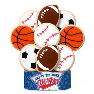 All Star Sports Birthday Bouquet 6 Cookies