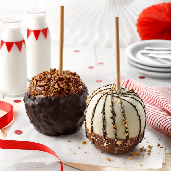 Nuts and Chocolate Caramel Apples